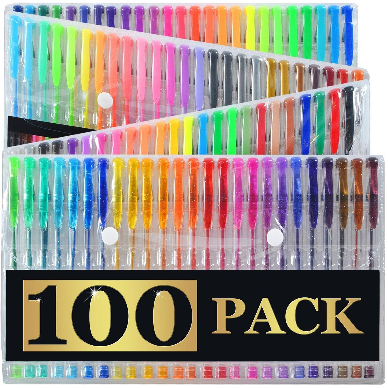2018 100 Gel Pens Refills With Case Extra Large Set Great For Adult ...