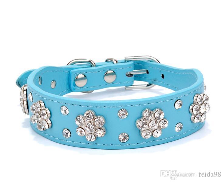 Collare di cane di strass di Didog Collana di Diamante dell'animale domestico Collari di cuoio di Bling Cat Rosa blu nero rosso i piccoli cani medi G992