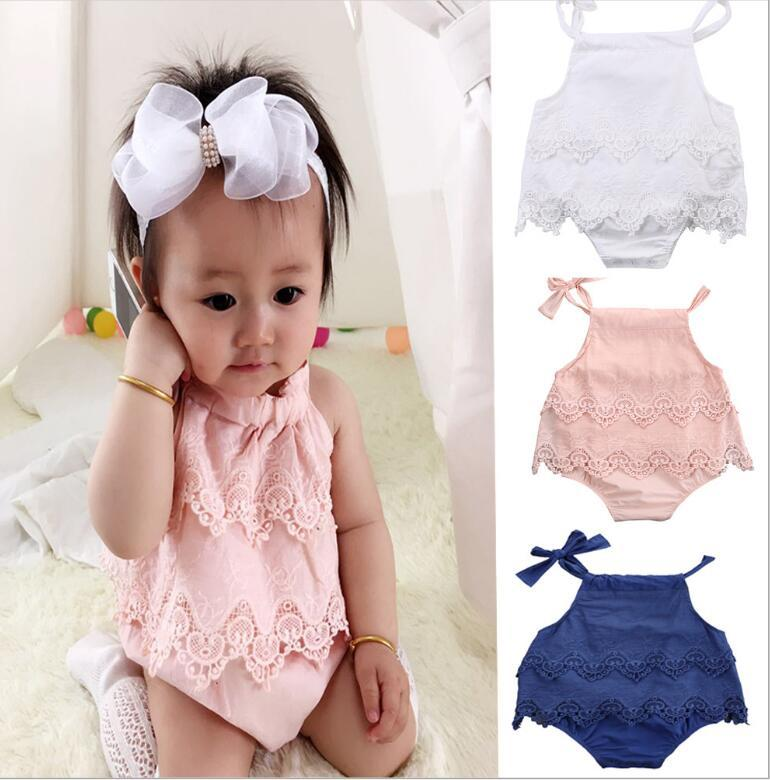 bfa2f95af46 2017 INS Newborn Baby Girls Clothes Tops Romper Lace Floral Jumsuit Ruffles  Cute White Outfits Sunsuit Clothing Baby Girl INS Baby Romper Jumpsuit  Online ...