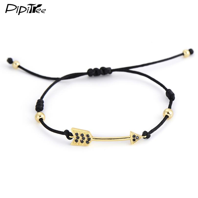 Wholesale- Charm Gold Paved Crystal Arrow Bracelets & Bangles for Women Men Simple 4MM Copper  Braiding Macrame Bracelet Brand Jewelry