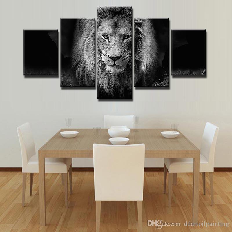 Moderne 5 panneaux noir et blanc Animal Lion Toile Mur Art Photo pour la maison ou Salon Décoration Cadeau pour papa sans cadre