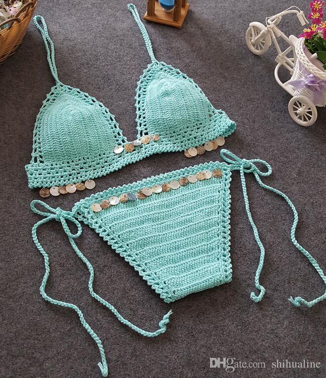 Внешняя торговля новый бикини пляж купальник бикини ретро ручной вязание женщины Европа и Соединенные Штаты сплит купальник набор