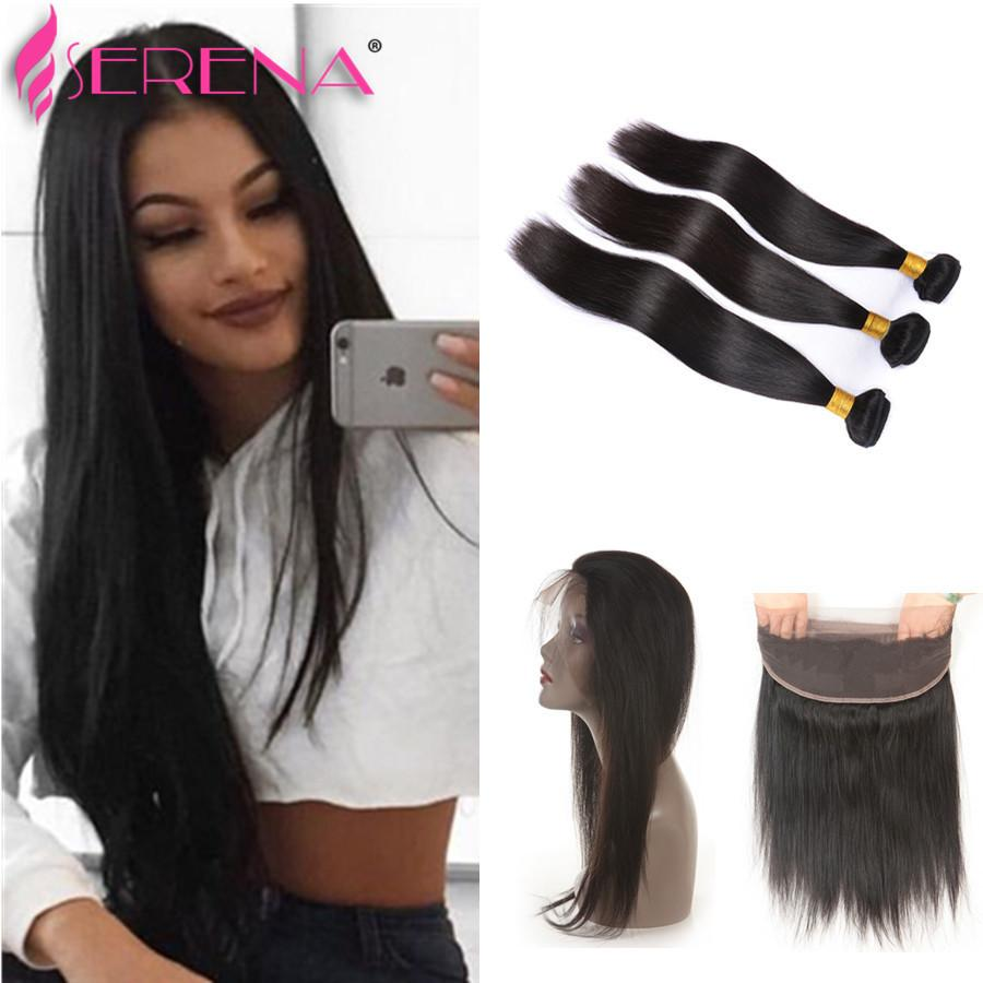 360 Lace Frontal With Bundle Pre Plucked 360 Frontal With Bundles 8A Brazilian Straight Virgin Human Hair With 360 Frontal