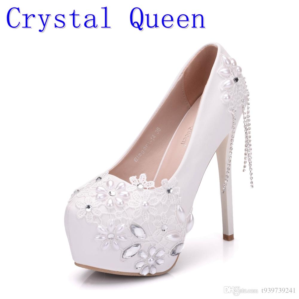 Crystal Queen Single Rhinestone Shoes Women Pumps White Lace Flower ... 76a79d652af3