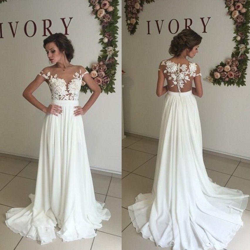 7111bddd5653 New Sexy Lace Sheer Summer Beach A Line Wedding Dresses 2017 Chiffon Illusion  Long Sleeves Zip Full Length Split Thigh High Slits BAed Wedding Dresses ...
