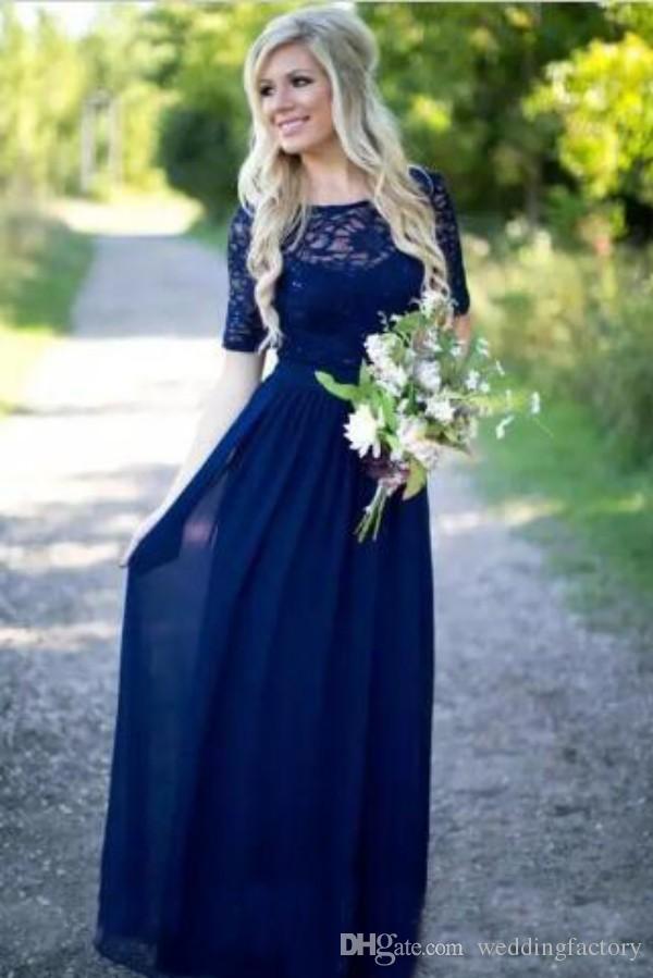بيع حار مذهل البلد الأزرق وصيفه الشرف اللباس شير باتو الرقبة قصيرة الأكمام الدانتيل أعلى طول الكلمة الشيفون فستان زفاف الزوار