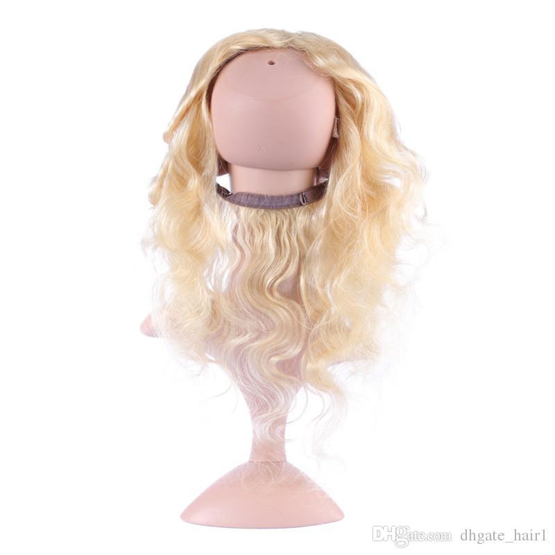 # 613 Blonde 360 Bande Dentelle Frontale Vierge Péruvienne Cheveux Humains Vague de Corps Bleach Blonde 360 Dentelle Bande Fermeture 13x4x2 avec des Cheveux de Bébé