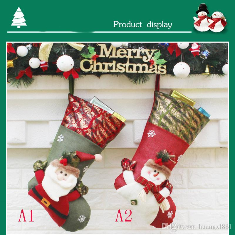Christmas stockings party Christmas socks candy socks long tube multicolor cartoon gift home court Christmas atmosphere decoration bag heat