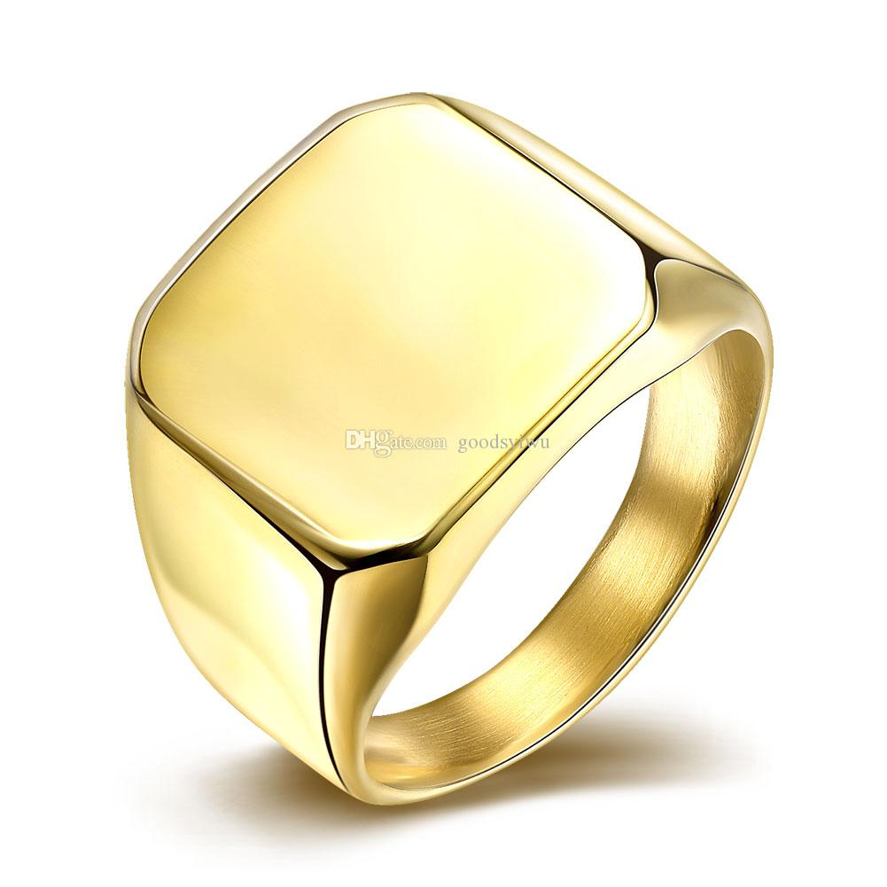 Luxury Glaze Square Titanium Ring 316L Stainless Steel Male Ring Silver Gold Men Finger Rings Jewelry Large Size