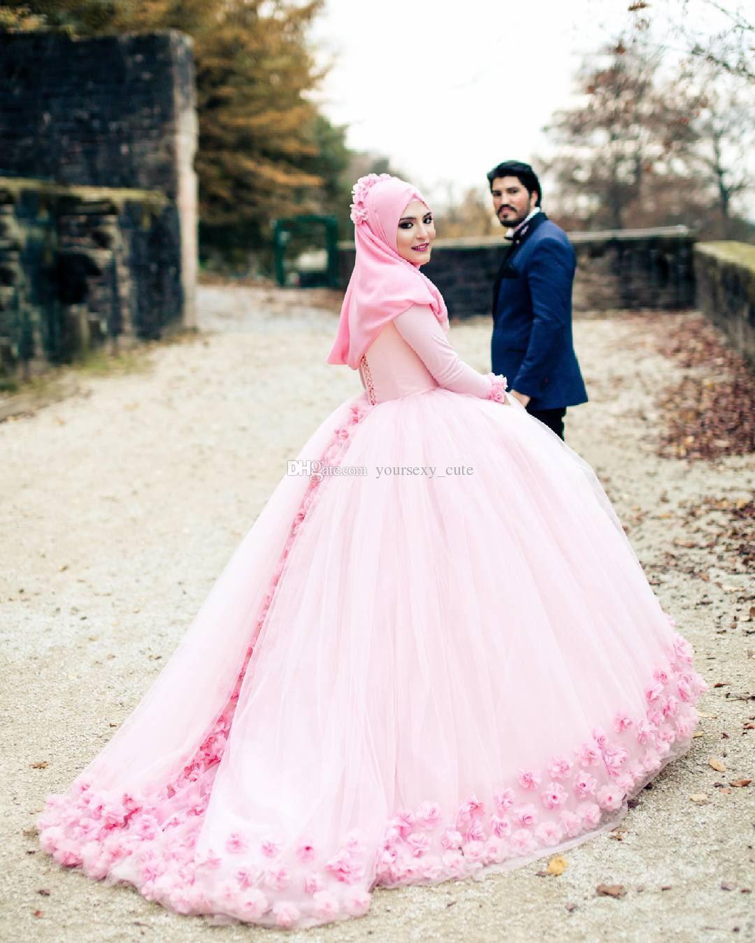 Abiti da sposa musulmani Abito da sposa musulmano Collo alto maniche lunghe Tulle Fiori Pizzo posteriore Fasciatura Abiti da sposa Abiti da sposa musulmani