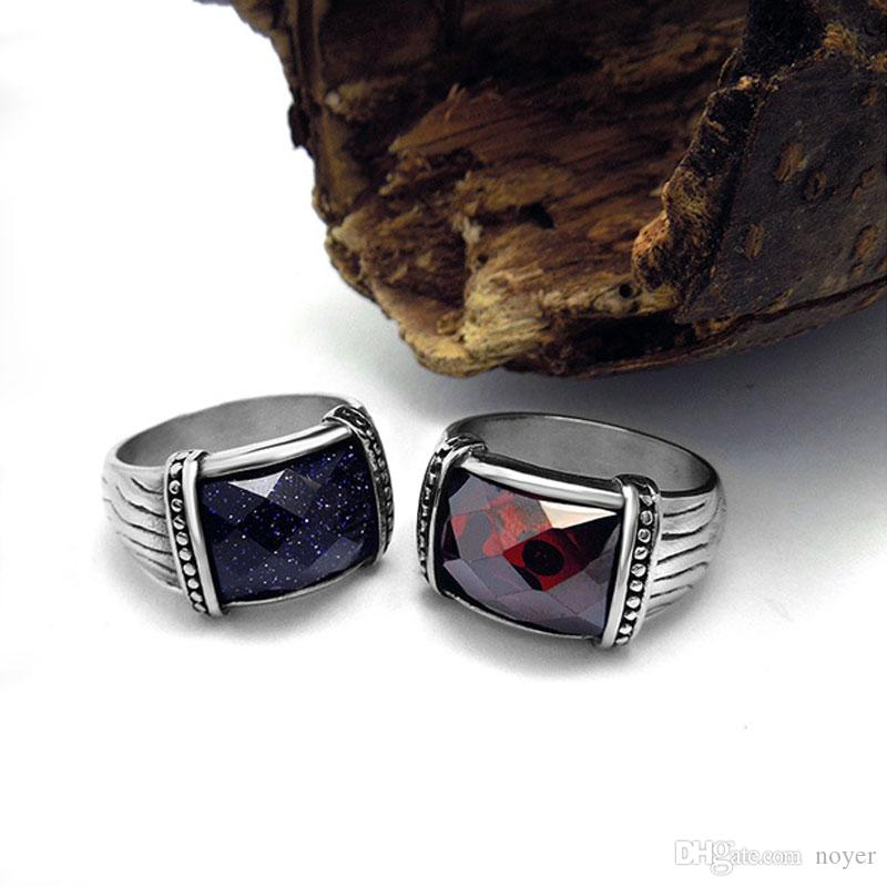 Ruby ring designs for men index finger Stainless steel colorfast vintage middle finger ring in black and in white color