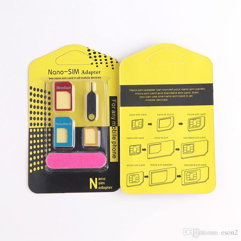 5 em1 de metal de alumínio nano sim card para micro sim padrão adaptador para iphone 5s se 6 7 8 Edge Converter Eject Pin