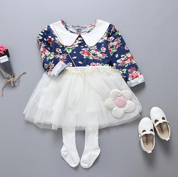 2017 Primavera Bebé de Las Muchachas Vestido Floral de Los Niños Algodón Flores de Manga Larga de Tulle Tutu Princesa Vestido de Los Niños Varios Vestidos