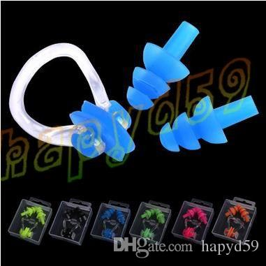 Soft Silicone Waterproof Swimming Diving Surf Water Sports Protection Earplugs Nose Clip with Case Bag Swim Pool Gear Accessory
