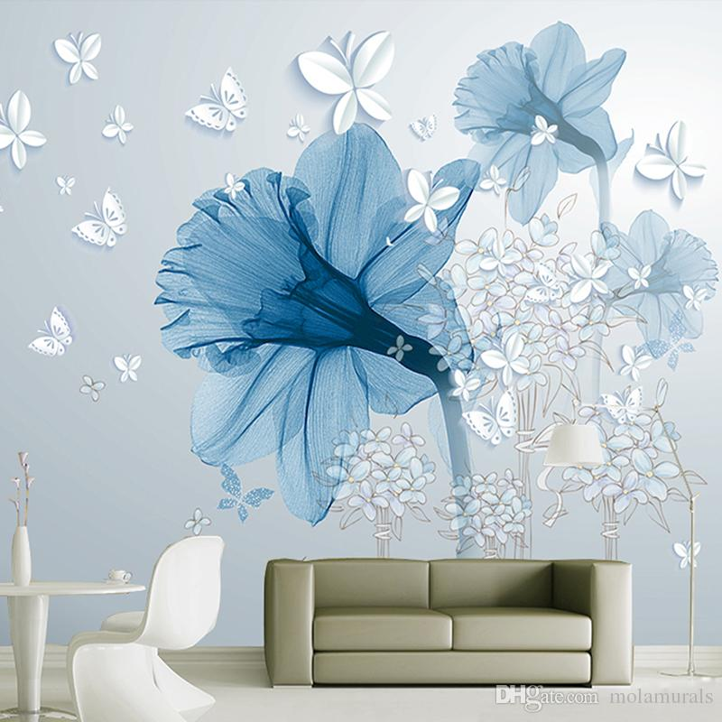Custom Wallpaper large 3D wall murals morden style TV Walls bedroom living room Study home decor blue flowers White butterfly