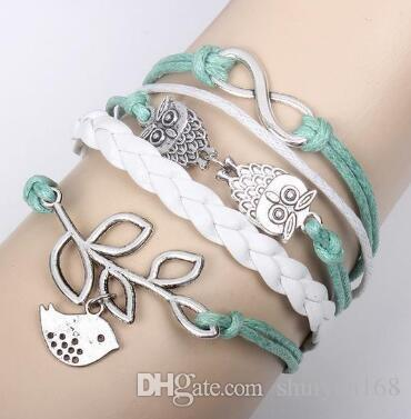 Infinity Owls Lucky Branch Leaf and Lovely Bird Charm Bracelet in Silver Mint Green Wax Cords And Leather Braid Wrap Christmas Gift