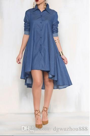 Denim Dresses Denim Shirt Large Size Irregular Dress Europe And The United States Fashion Loose Casual Women's Clothing D6138