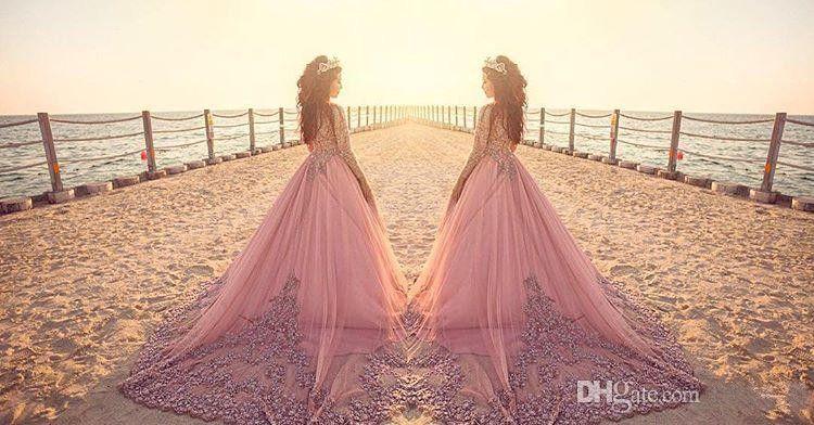 2020 musulmana elegante Illusion una linea di abiti da sposa gioiello collo maniche lunghe in pizzo applicazioni di cristalli Plus Size Corte treno Abiti da sposa Formal