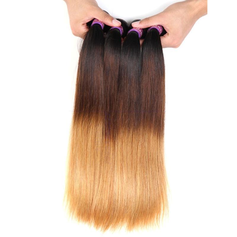 Honey Blonde # 1B 4 27 paquetes de pelo humano recto con 360 Frontal de banda de encaje completo con el pelo del bebé 4 Unids / lote