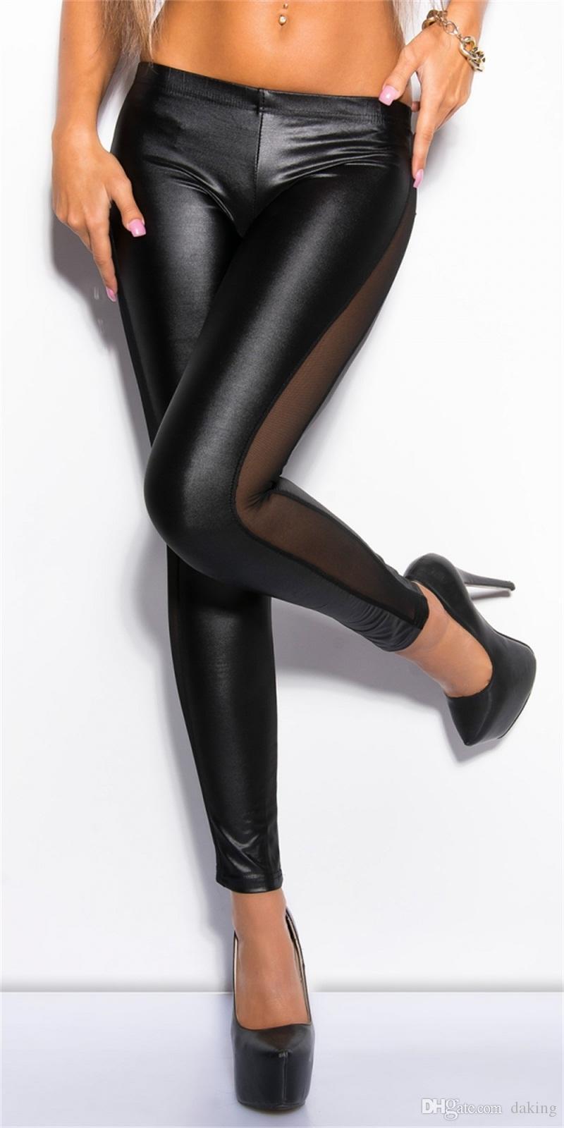 Avrupa Rusya gelgit Kadınlar Dantel patchwork Seksi dar pantolon siyah Splice Casual tarz Parti gece kulübü Glamour bayan ince pantolon kırmızı pop