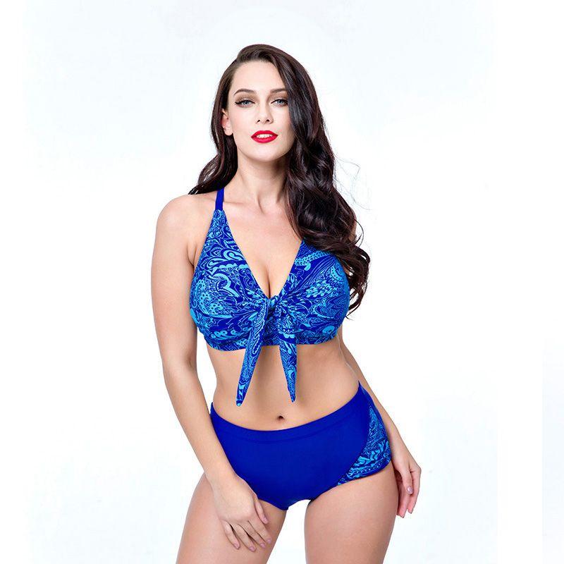 62620169c0827 2019 2018 Plus Size Bikini Set Bandage Bikini Floral Print Bathing Suit  Women Swimsuit Retro Vintage Swimwear Bandeau Beachwear From Pilgrim001, ...