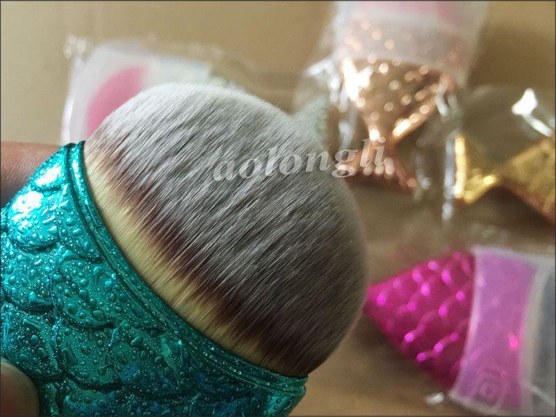 New Mermaid Make-up Pinsel Powder Contour Fischschuppen Mermaidsalon Foundation Pinsel Gold Rose Gold Silber Blau Rose rot 5 Farben Kostenloser Versand