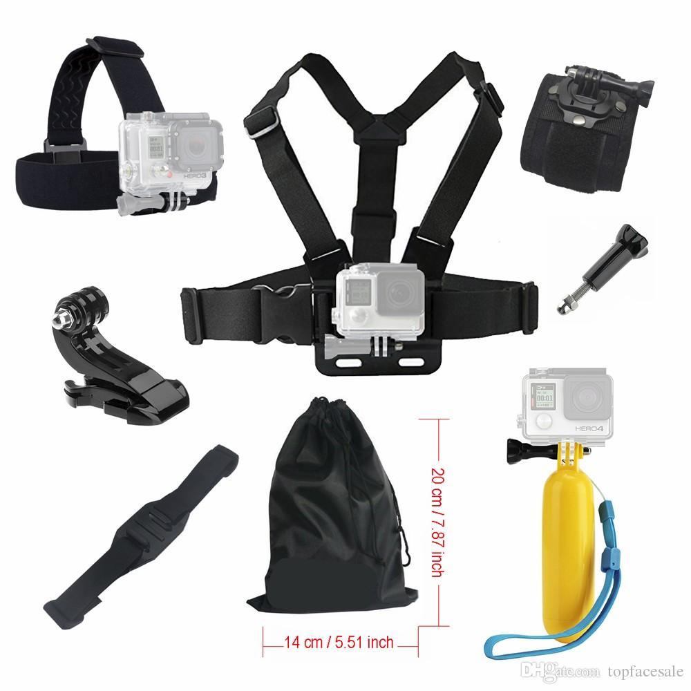 ل Gopro Hero 4 5 6 7 الملحقات السوداء مجموعة العائمة الصدر رئيس اليد خوذة جبل حزام للذهاب برو sjcam sj4000 sj5000x عمل كاميرا