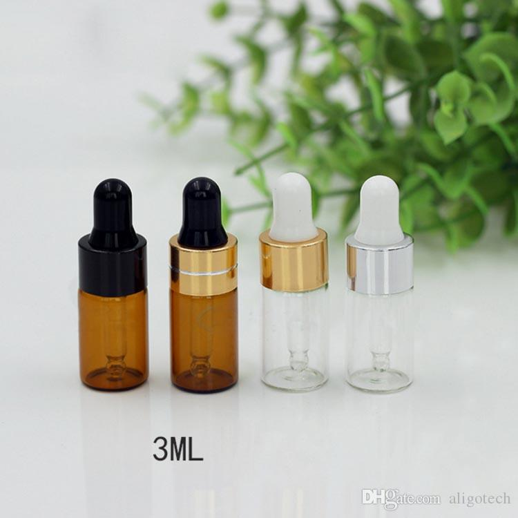 Amber Dropper Bottles 3ml Mini Glass Bottle 3CC Essential Oil Display Vial Small Serum Perfume Glass Container with Glass Dropper
