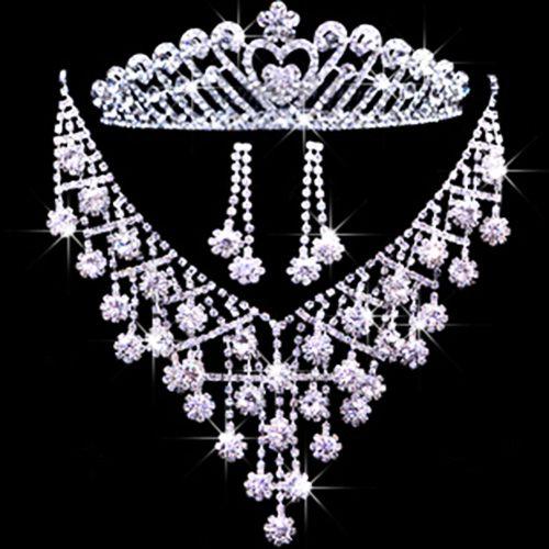 ブライダルウェディングジュエリーアクセサリーティアラスヘアセットの花嫁クラウンイヤリングネックレスT013