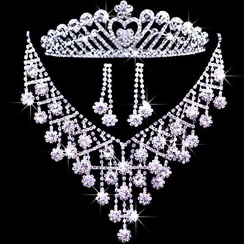 신부 웨딩 쥬얼리 액세서리 Tiaras 헤어 신부 크라운 귀걸이 목걸이 T013의 세트
