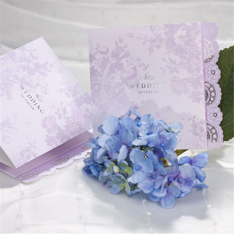 lace wedding invitations cards engagement romantic purple invites cards for marriage bride shower wedding favors b0003 beach themed wedding invitations blue