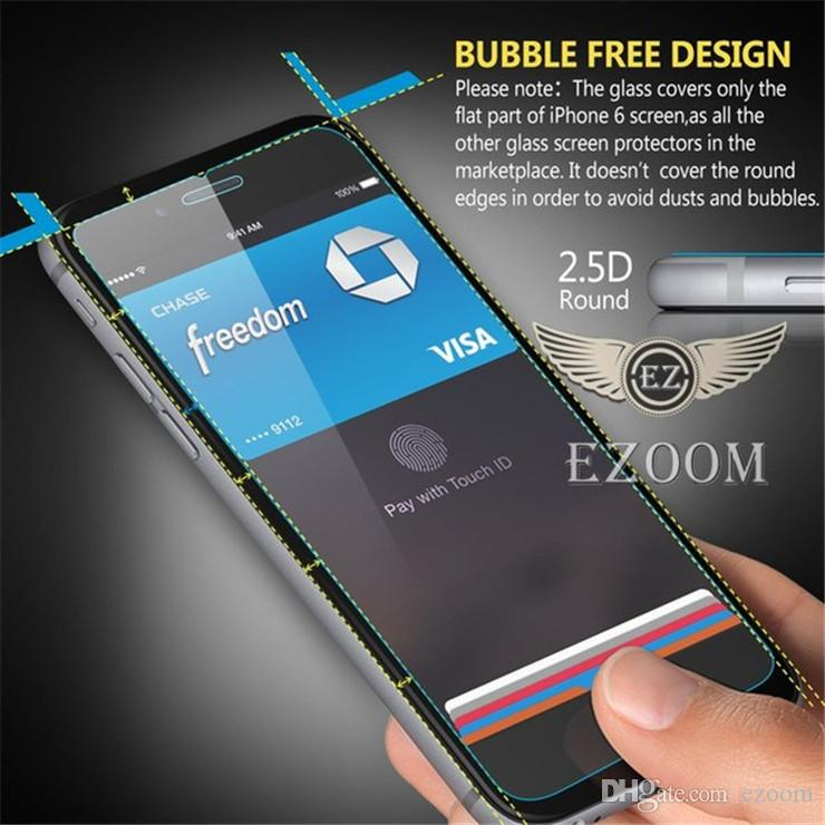 For HTC A9 10 M8 M9 plus Iphone 6 7 plus Tempered Glass Screen Protectors 2.5D Explosion Shatter Screen Protector Paper Package