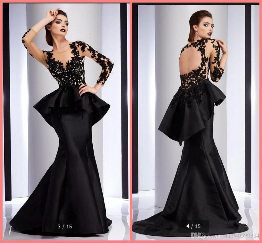 2017 New Design Mermaid Black Lace Satin Evening Dress Party Gowns