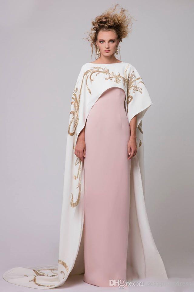 Blanc Longue Cape Avec Or Broderie Robes De Soirée 2017 Rose Satin Gaine De Bal Robes De Plancher Longueur Longueur Saoudien Arabe Femmes Robes De Fête