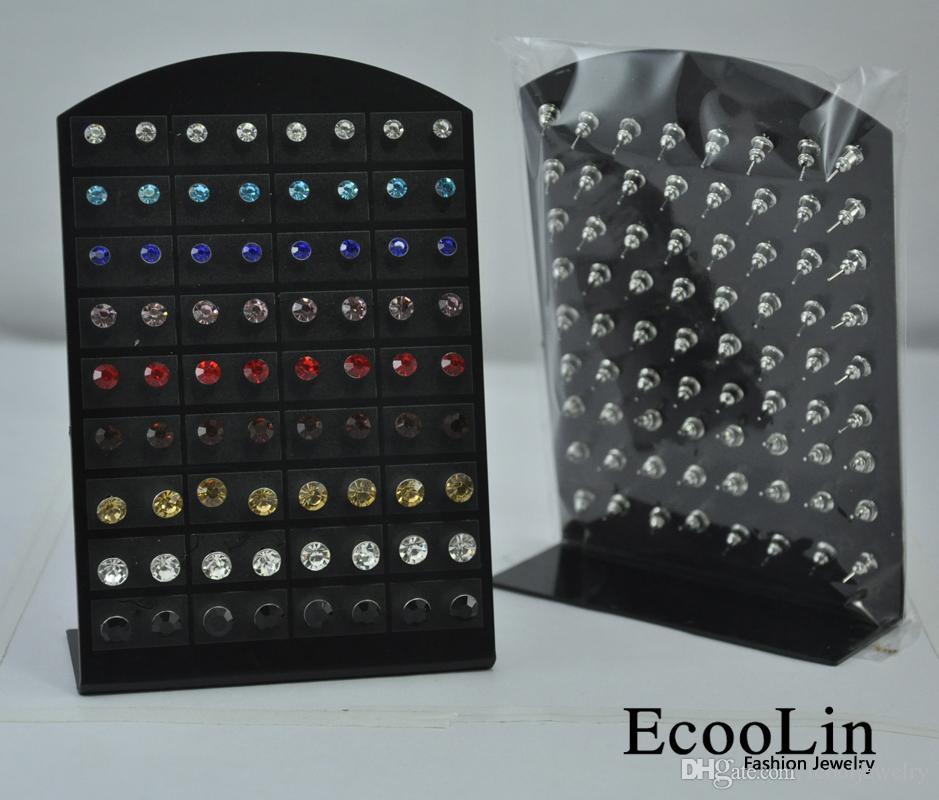 72 개 세트 1 세트 도매 보석 쥬얼리 패션 스테인리스 여러 가지 빛깔의 라인 석 스터드 귀걸이 여성 남성 LR286 무료 배송