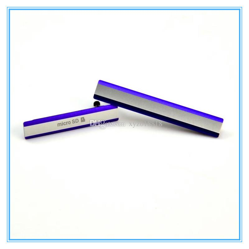 Sony xperia z z1 z2 için 10 takım yeni yedek l50w d6503 usb şarj portu kapak + micro sd kart flap toz fiş kapağı