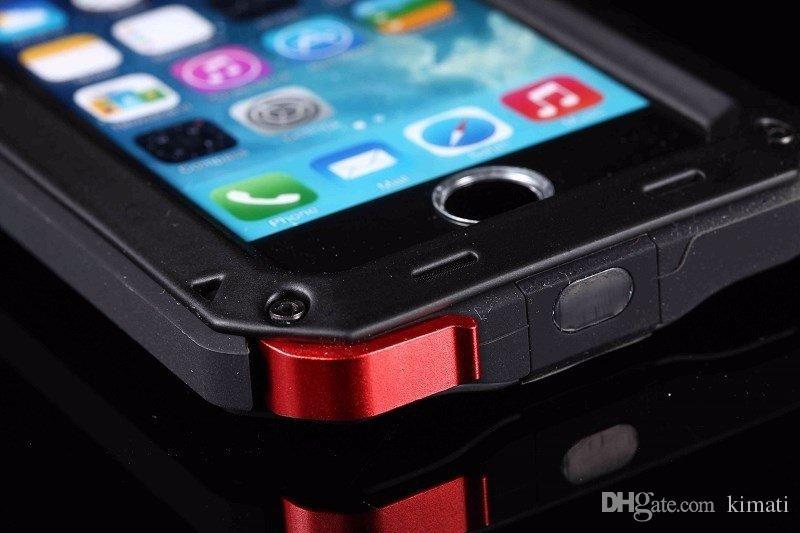 Sujeira de luxo caixa estanque à prova de choque prova para o iPhone 4G 5 5C 6 6sPlus 7 8 7plus x Heavy Duty Armadura Metal Cover