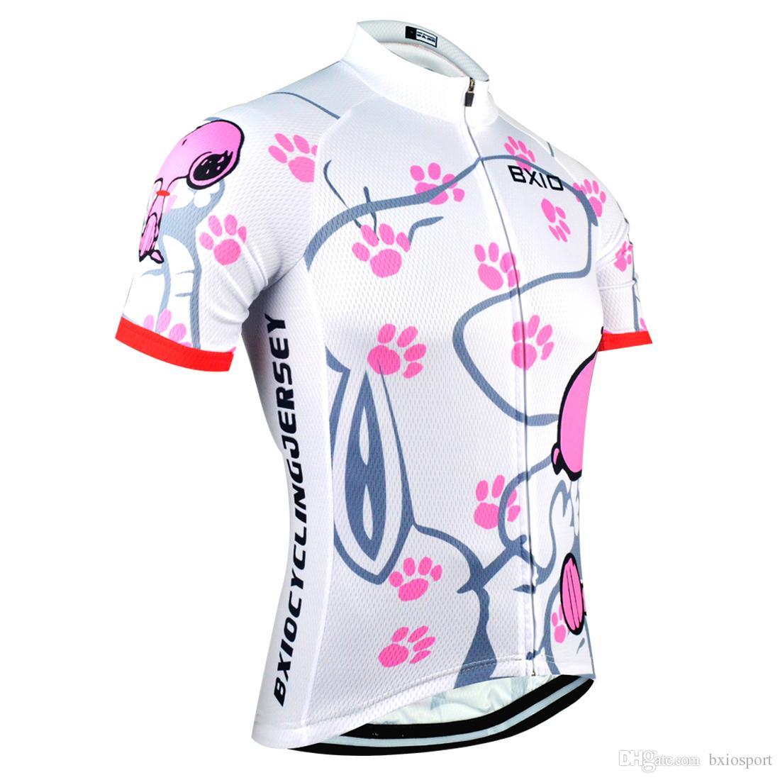 d1790414193a BXIO marca ciclismo Jersey mujer manga corta deporte Jersey verano Cool  Snoopy Bike ropa pro equipo equipe de france BX-0209W021-J