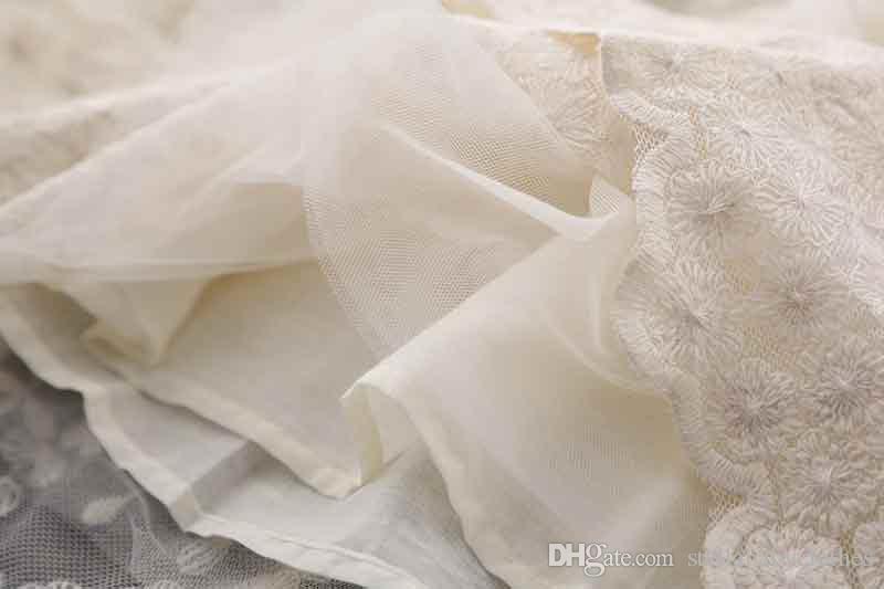 Vestido de fiesta de cumpleaños de la princesa Primavera Otoño de manga larga Rustic Lace Trim Ropa para niños Vestido de niña de las flores de moda