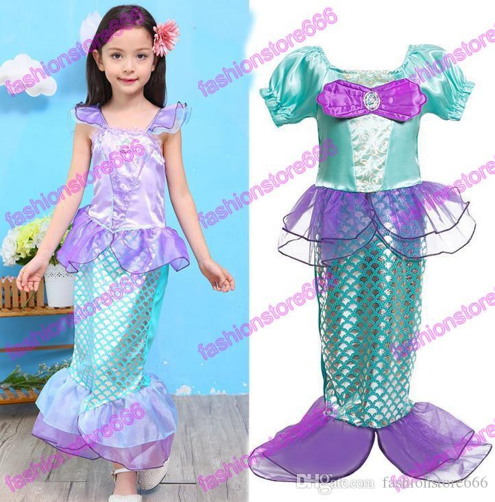 Enfants Bébé Vêtements Petite Sirène Fantaisie Enfants Filles Robes De Sirène Princesse Ariel Cosplay Halloween / Costume Fille De Noël