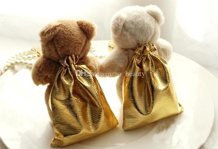 Bear With Golden Bags Wedding Gift Bag 9x12cm High Quality Cute Party Birthday Candy Box Favour