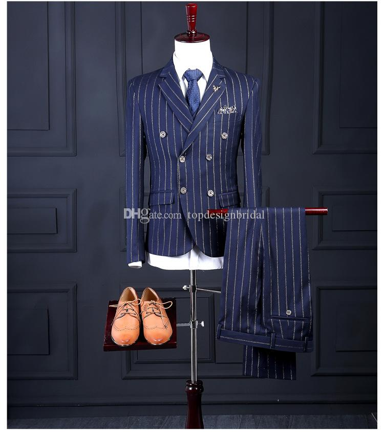 Wholesale Navy Double Breasted Rope Stripe Mens Suits Bridegroom ...