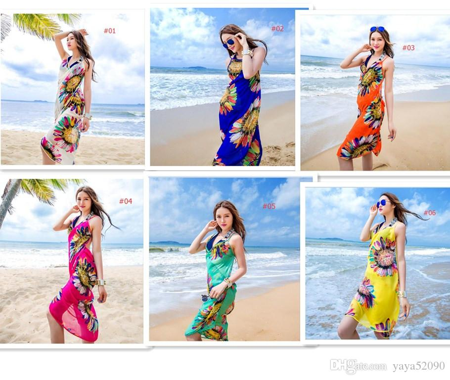 Mulheres Floral Biquíni Capa Ups Imprimir Sexy Pareo Praia Vestido Bohemian Sarong Chiffon Praia Biquíni Envoltório Swimwear cobre Cachecol Xale Brace