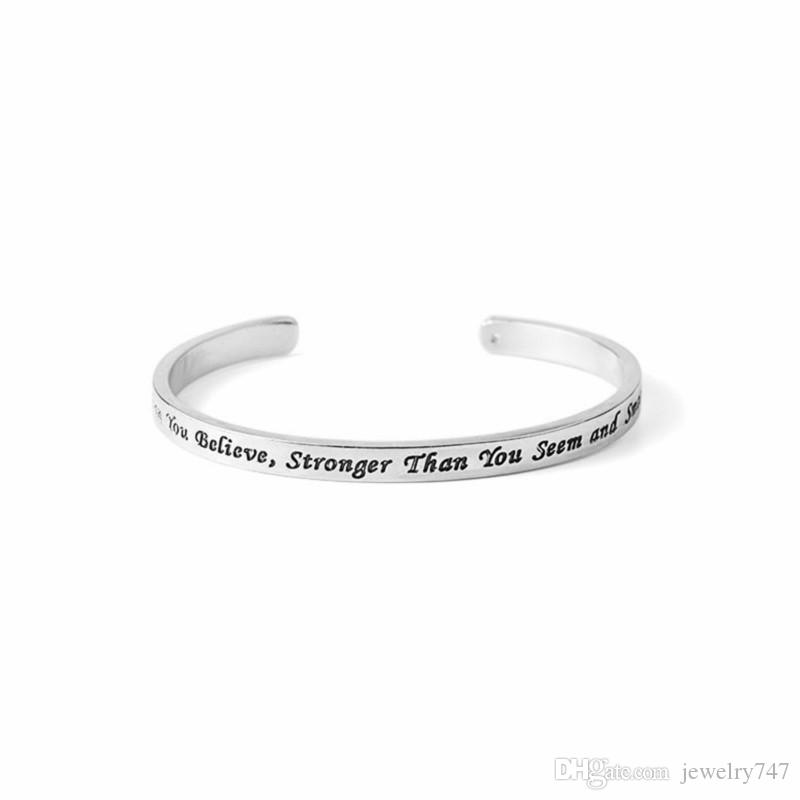 Bracelets for Women Inspirational Quote Alloy Bangles You are Braver Than You Believe Bangle Bracelet Jewelry