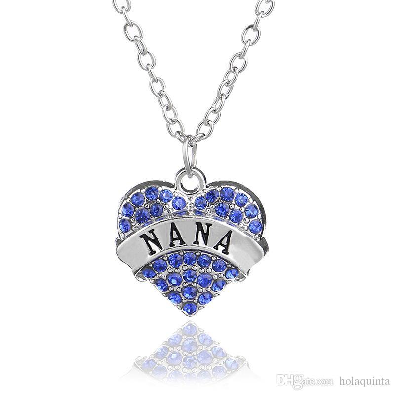 Dia das mães Melhor Presente Mãe Filha Irmã Avó Nana Tia Família Colar De Cristal Coração Pingente de Strass Mulheres Jóias