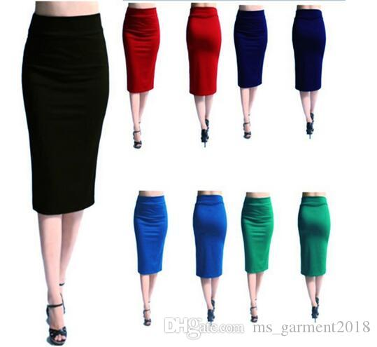 fdd8afff93c3 2019 Women'S Skirts Solid Green Long Cotton Maxi Skirt Women Casual Slim  High Waist Bodycon Pencil Elastic Skirt Stretchy Street Style OL Skirt From  ...