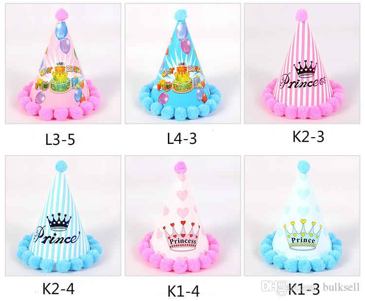 Wave Birthday Party Christmas Hat Pompon Birthday Hat Children's Cartoon Pointed Hat Cap Dot 20cm