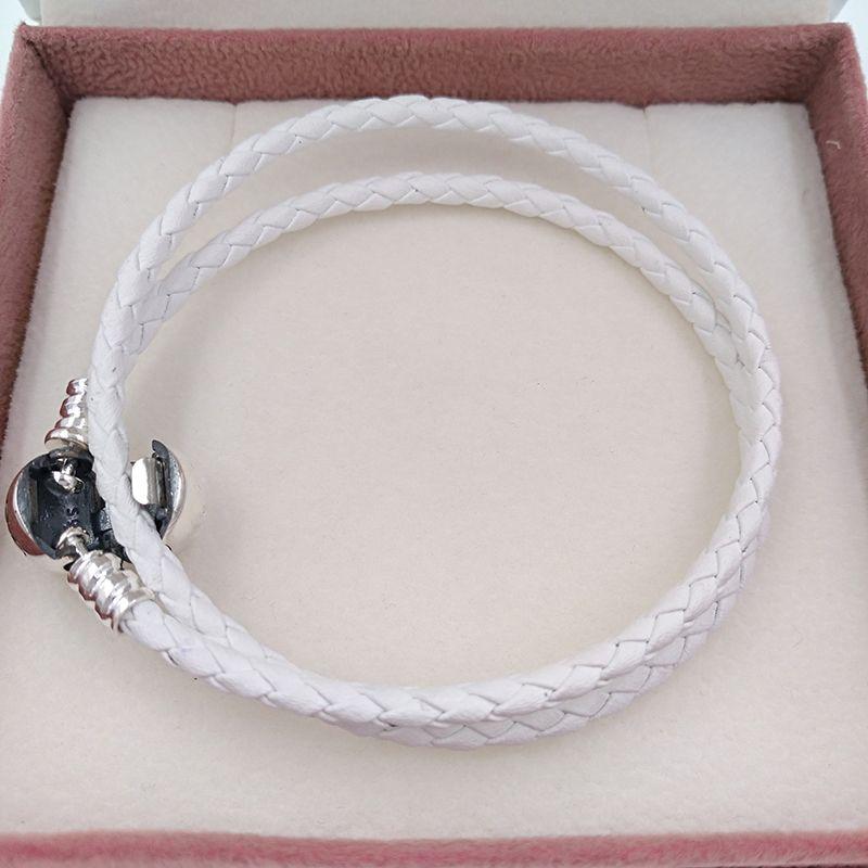 Authentic 925 branco marfim trançado duplo Leather Charm Bracelet único estilo europeu Pandora encantos jóias contas Handmade 590745CIW-D