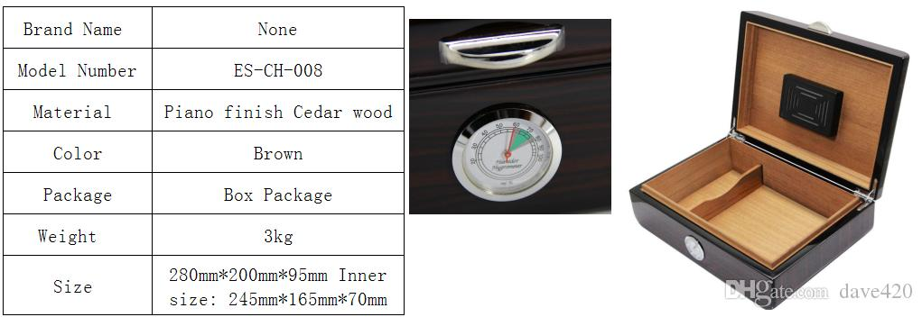 New Arrival Wood Pattern Cedar Lined Piano Finish Cigarette Humidor high-quality with humidifier & hygrometer