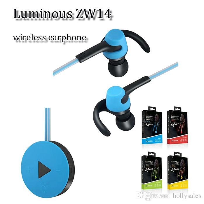 Auricolari Smartphone Zw14 Auricolare Luminoso LED Sport Leggeri Auricolari  Bluetooth Gancio Dell orecchio Neckband In Cuffia Dell orecchio Iphone X  Samsung ... 82236d7f6ed2